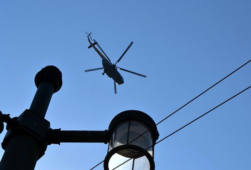 Lantern, Helicopter, Wire, Blue, Sky, Blue Sky, Height