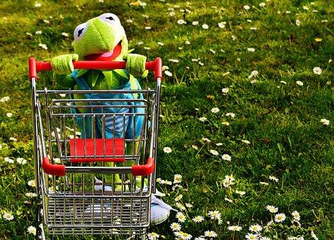 Kermit, Frog, Shopping, Shopping Cart, Fun, Soft Toy