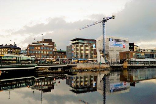 City, Jönköping, Sweden, Water, Lake, Buildings, Cars