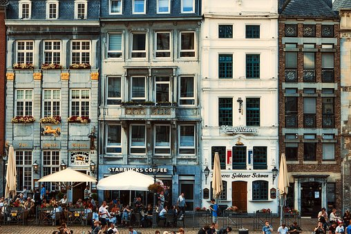 Aachen, Germany, City, Urban, People, Downtown