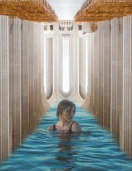 Woman, Young, Pool, Wet, Turned Away, Water, Symbolism