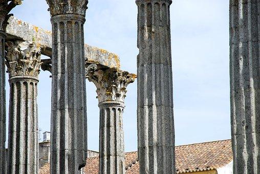 évora, Portugal, Columns, Ancient Rome, Temple