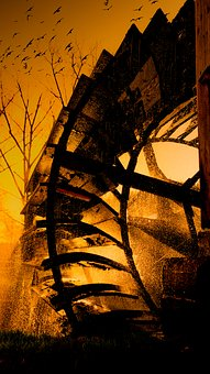Mill Wheel, Sunset, Water, Afterglow, Nature