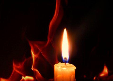 Candle, Burns, Flame, Fire, Wick, Black, Closeup, Macro