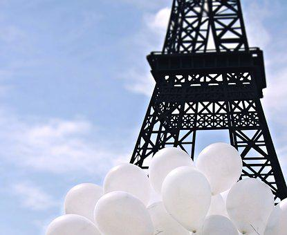 Eiffel Tower, Ballons, Balloons, Sky, Clouds, Happy