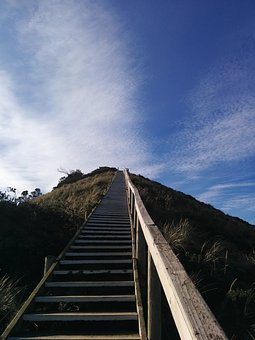Stairs, Clouds, Sky, Climb, Stairway, Achievement