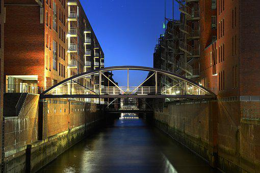 Hamburg, Speicherstadt, Bridge, Brick
