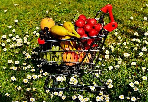 Shopping Cart, Healthy Shopping, Fruit, Vegetables