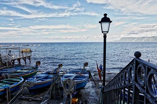 Sea, Sky, Horizon, Clouds, Beach, Boat, Calm Sea