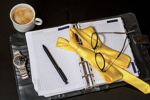 Agenda, Tie, Pen, Men's Watch, Cup Of Coffee