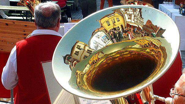 Tuba, Mirroring, Folk Festival, Musical Instrument