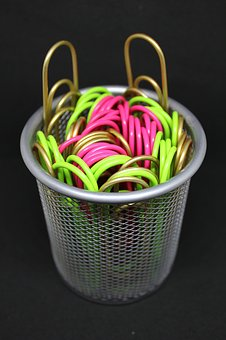Paperclips, Office Supplies, Pen Holder, Business