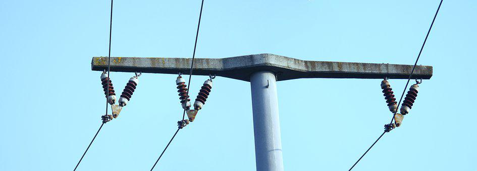 Strommast, Insulators, Industry, Partly Cloudy, Energy