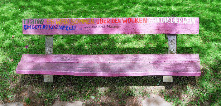 Bank, Bench, Park, Graffiti, Pink, German, Bat, Seat