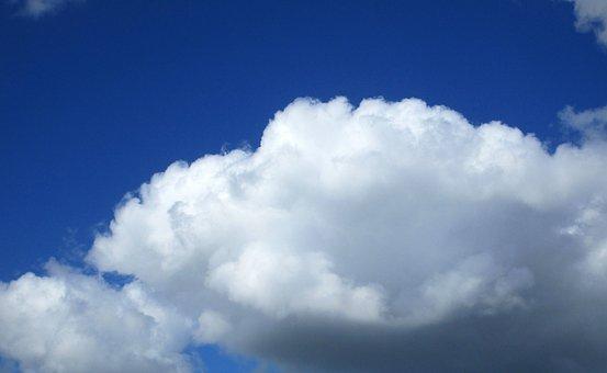 Cloud Of Bunch Of, Blue, Sky, Weather, Cumulus, Clouds