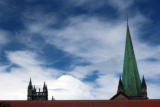Steeple, Sky, Blue, Clouds, Church, Building, Spires
