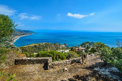 Sicily, Coastline, Summer, Italy, Taormina, Coast