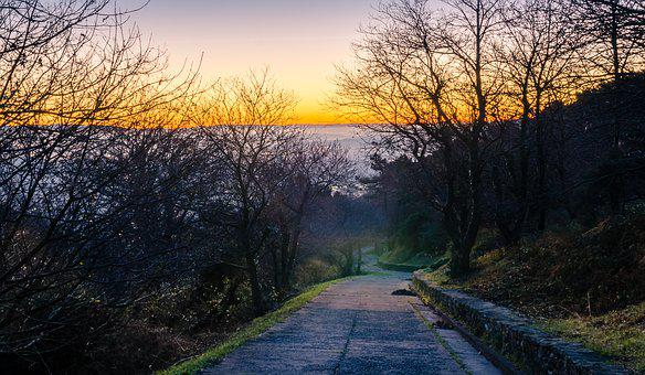 Dawn, Mist, Sun, Twilight, Italy, Tuscany, Mountain