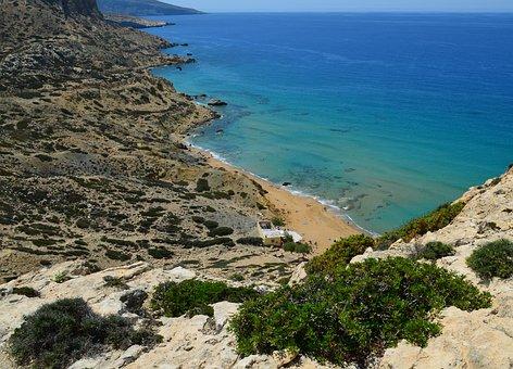 Crete, Matala, Red Beach, Greek Island, Holiday, Sea