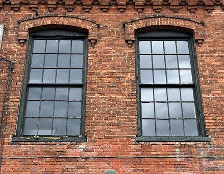 Vintage, Windows, Old, Brick, Wall, Exterior, Nashville