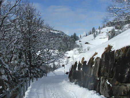 Wengen, Path, Alps, Switzerland, Winter