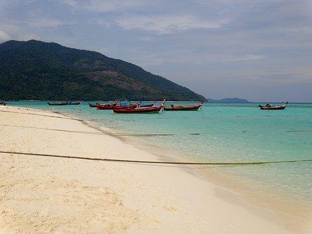 Thailand, Beach, Boot, Long Tail, Sea, Water