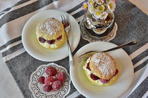 Cake, Cake Cuts, Puff Pastry, Raspberries, Dessert