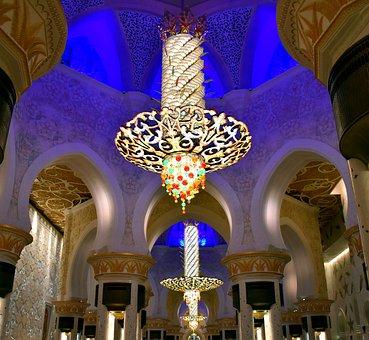 Chandelier, Sheikh Zayed Mosque, Abhu Dhabi, Decoration