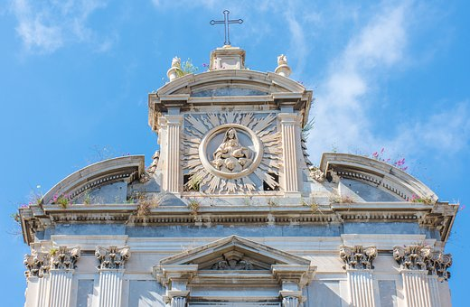 Overgrown, Facade, Weed, Church, Baroque, Naples, Italy