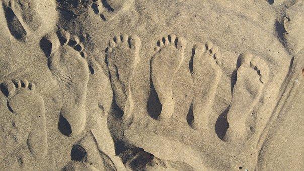 Sand, Beach, Feet, Trace, Foot