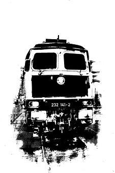 Diesel Locomotive, Monochrome, Railway, Transport