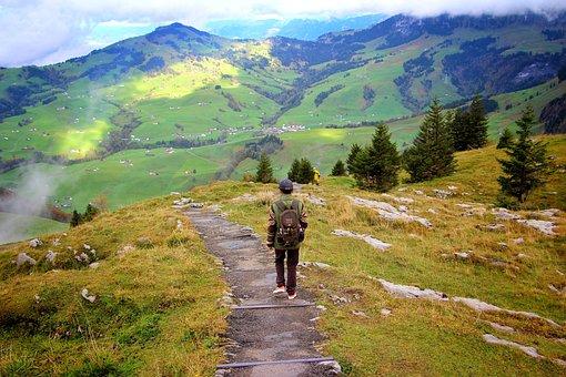 Trekking, People, Swiss Alps, Mountain, Alone, Walking