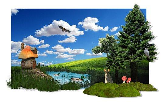 Idyll, Fantasy, Trees, Mood, Nature, Landscape, Sky