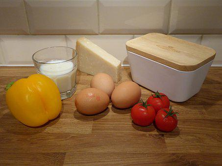 Food, Eggs, Tomatoes, Cheese, Butter, Peppers, Milk