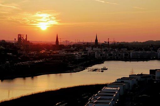 Dortmund, Phoenix Lake, Sunset, Authority, Hörde