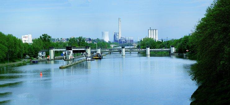 Neckar, Lock, Power Plant, Heilbronn, Panorama, River