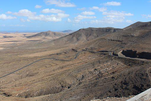 Landscape, Volcanic, Mountain, Valley, Road