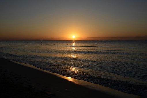 Sunrise, Sea, Morgenstimmung, Mirroring, Atmospheric