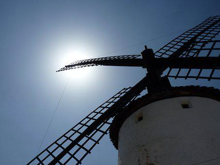 Windmill, Sun, Sky, Ancient, Ecology