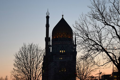 The Mosque, Vienna, Silhouette, Sunset, Sun