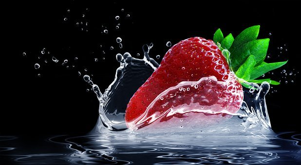 Strawberry, Water Splashes, Drop Of Water, Fruit, Sweet