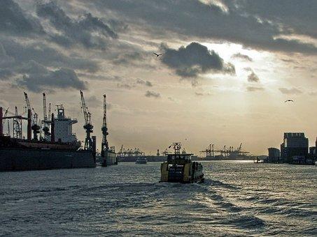 Barge, Harbour Cruise, Port, Hamburg, Elbe