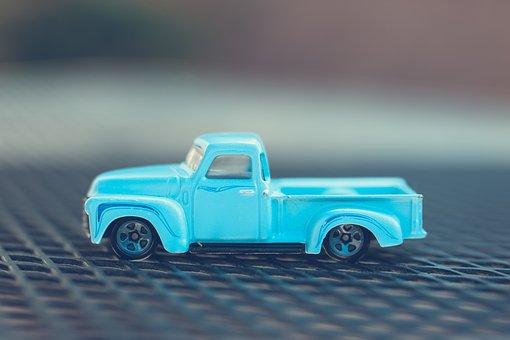 Pickup, Truck, Blue, Toy, Transportation, Vehicle