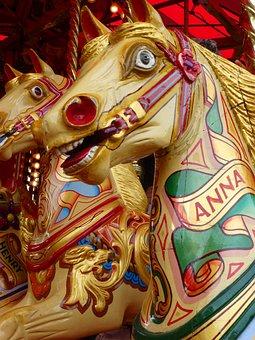 Fairground, Horse, Ride, Carousel, Merry