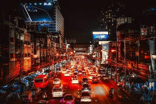 Bangkok, Thailand, City, Urban, Night, Evening, Cars