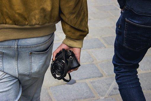Camera, Jeans, Jacket, Men, Clothing, Photo, Road, Blue