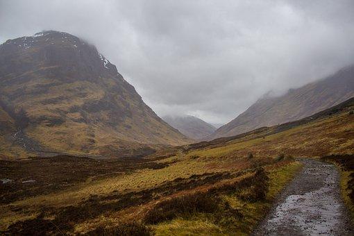Scotland, Hiking, Windy, Fog, Clouds, Rain, Glencoe