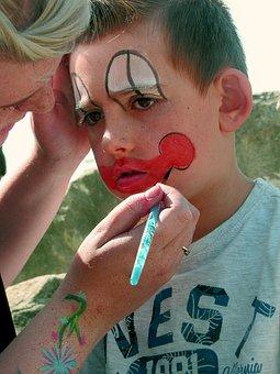 Child, Clown, Face Paint, Face Painting, Painted