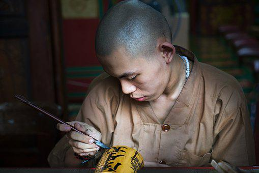 Portrait, Human, Male, Young, Priest, Temple, Buddhist