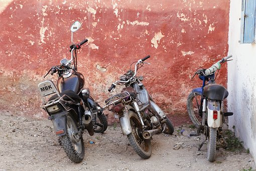 Motorcycles, Parking, Turn Off, Two Wheeled Vehicle